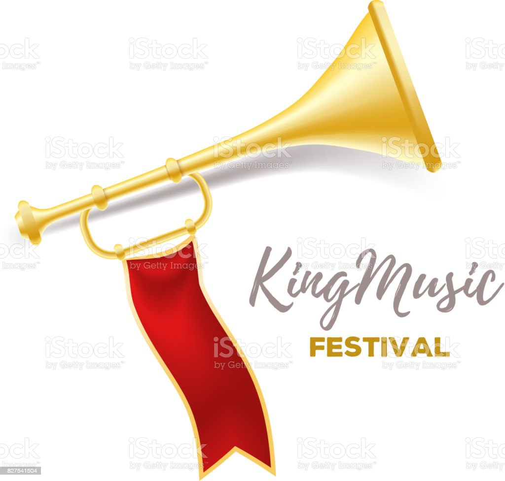 Announcement of a music festival concept. Realistic vector illustration of shiny golden metal trumpet with red ribbon and title on white background. vector art illustration