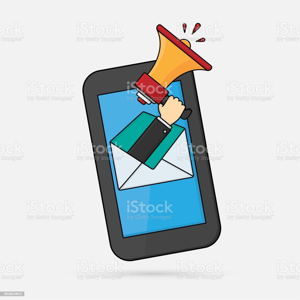 Cep telefonu ile duyuru vektör sanat illüstrasyonu