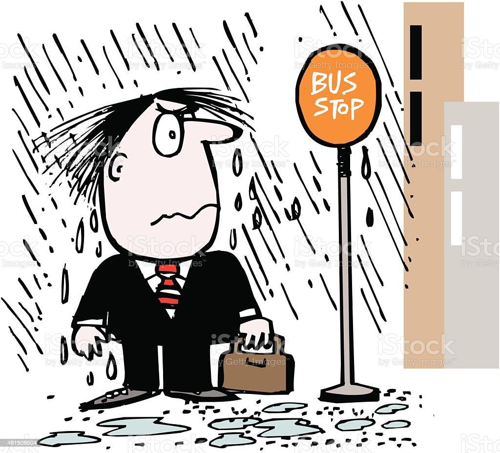 Annoyed business executive in rain at bus stop cartoon vector art illustration