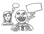 Annoyed Woman Rude Man Speech Bubble Drawing