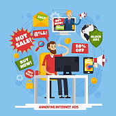 Colored annoying intrusive advertisement orthogonal composition with annoying internet ads and angry user vector illustration