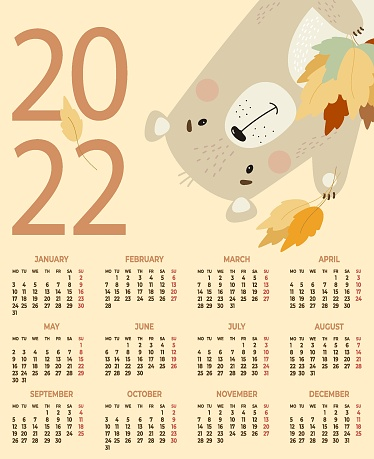 Annual Calendar for 2022. Cute bear with autumn leaves on a yellow background. Vector illustration. Vertical calendar template A3 for 12 months in English. Week starts on Monday. Stationery, decor.