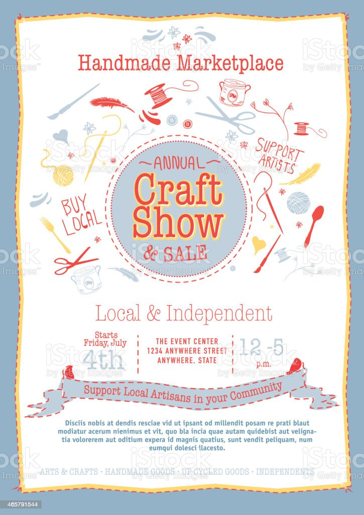 Annual Craft Show and Sale Poster Invitation red, yellow blue vector art illustration