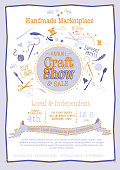 Vector illustration of an Annual Local Craft Show and Sale Poster Invitation. Cute and colorful. Includes hand lettering, hand drawn elements such as, yarn ball, needle and thread, spool, heart, utensils, scissors, feathers, ribbon. Sample text included. Easy to edit layers. Use as poster advertisement, invitation or online advertisment banner.