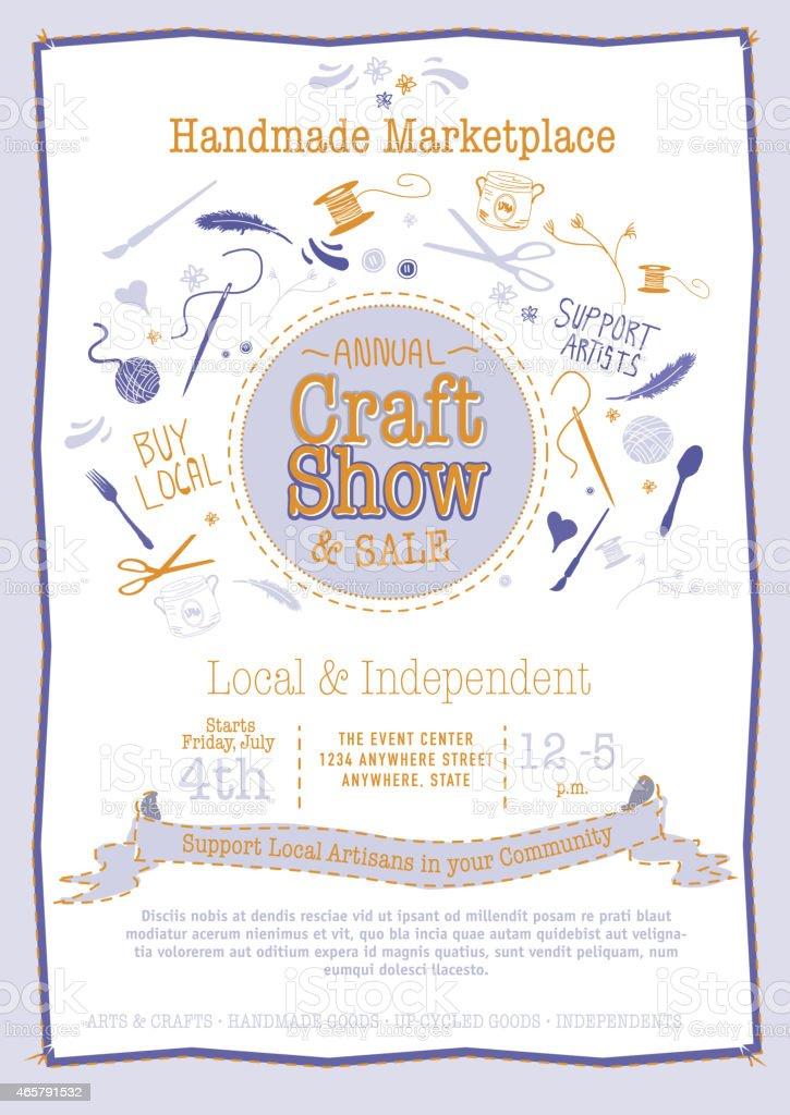 Annual Craft Show Sale Poster Invitation blue and orange colors vector art illustration