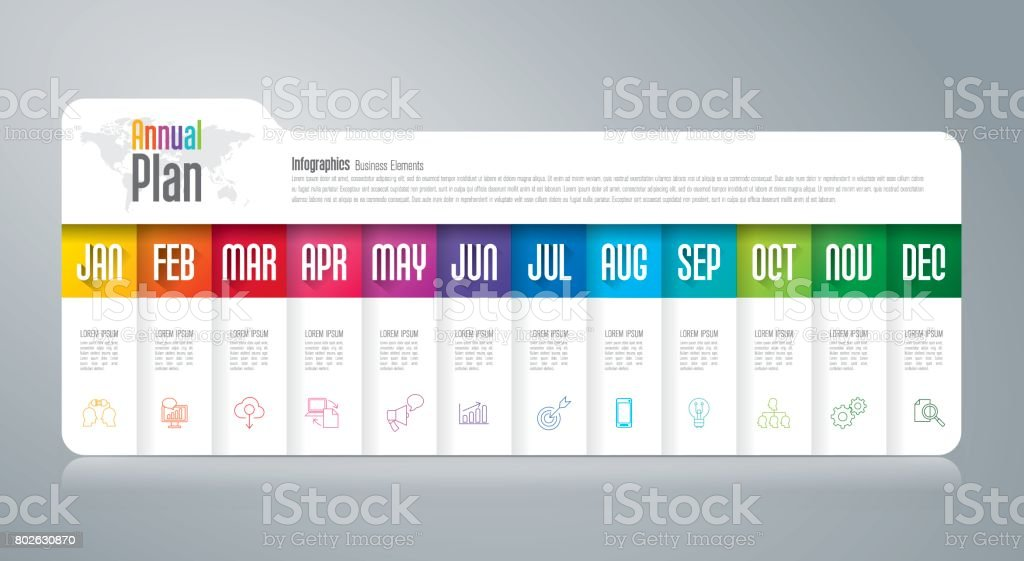 Annual plan January - December infographics design. vector art illustration