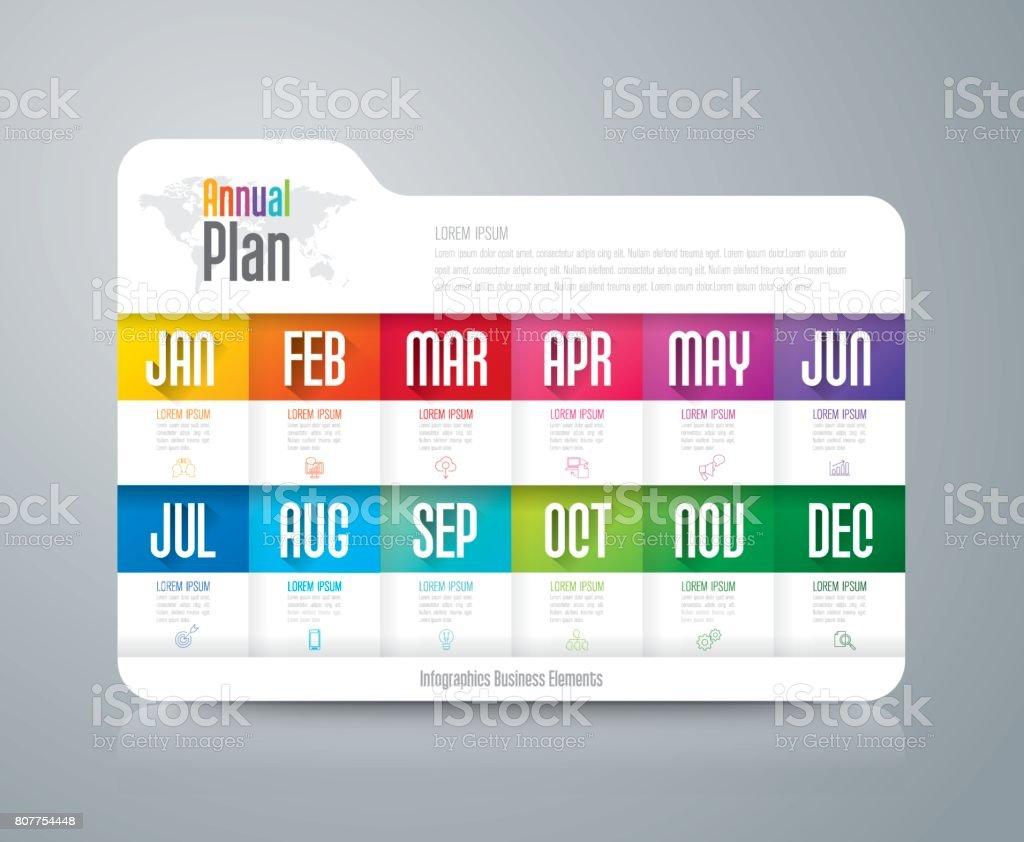 Annual plan January - December infographics design. vector art illustration