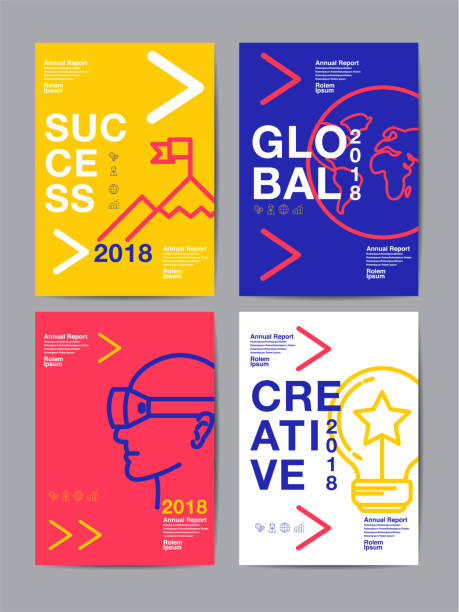 annual report 2018 ,future, business, template layout design, cover book. vector colorful, infographic, abstract flat background. - poster stock illustrations