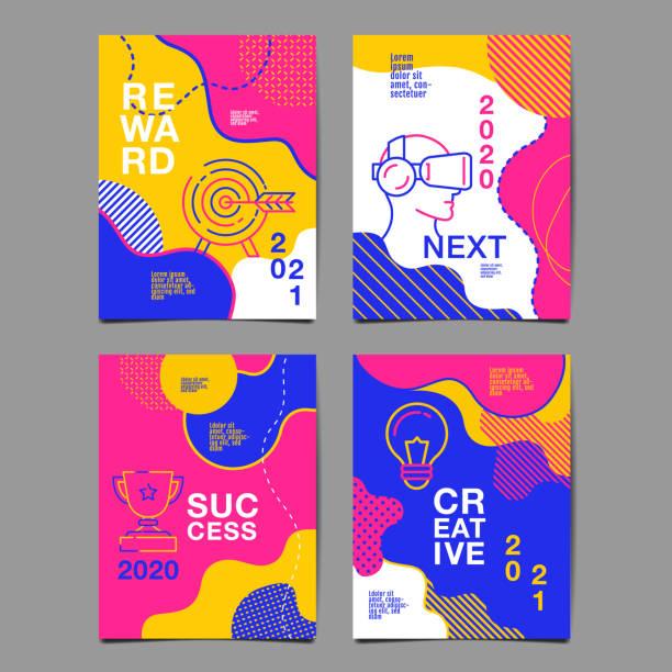 2020 년 연례 보고서, 미래, 비즈니스, 템플릿 레이아웃 디자인, 표지 책. 벡터 다채로운, 인포 그래픽, 추상적인 평면 배경. - future stock illustrations