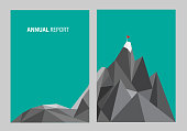 Annual report A4 business template. Low poly mountain with red flag on the top. Modern flat vector graphic design.