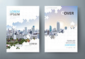 Annual report brochure, flyer design, Leaflet cover presentation abstract flat background, book cover templates, Jigsaw puzzle image. vector