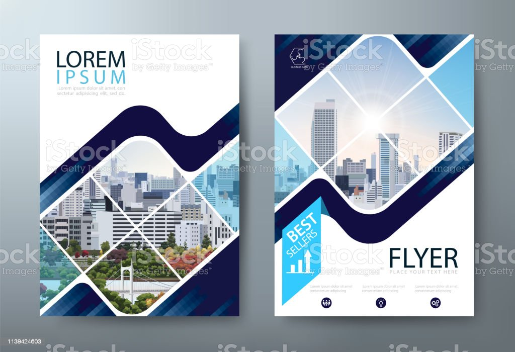 アニュアルレポートパンフレットチラシデザイン、リーフレットプレゼンテーション、ブックカバーテンプレート、A4 サイズレイアウト - イラストレーションのロイヤリティフリーベクトルアート