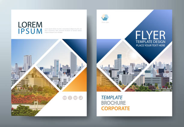 annual report brochure flyer design template vector, leaflet presentation, book cover. - annual reports templates stock illustrations