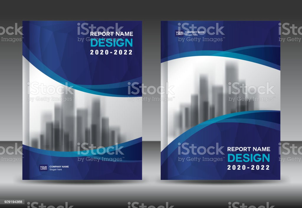 Annual report brochure flyer template, Blue cover design, business advertisement, magazine ads, catalog vector layout in A4 size vector art illustration