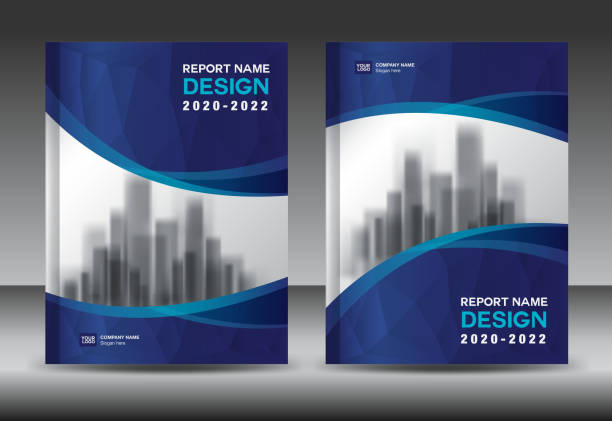 annual report brochure flyer template, blue cover design, business advertisement, magazine ads, catalog vector layout in a4 size - annual reports templates stock illustrations