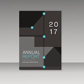 Annual report business brochure template. Cover book presentation in abstract design.
