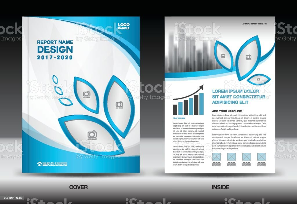 Annual Report Cover Business Brochure Flyer Template Blue Cover