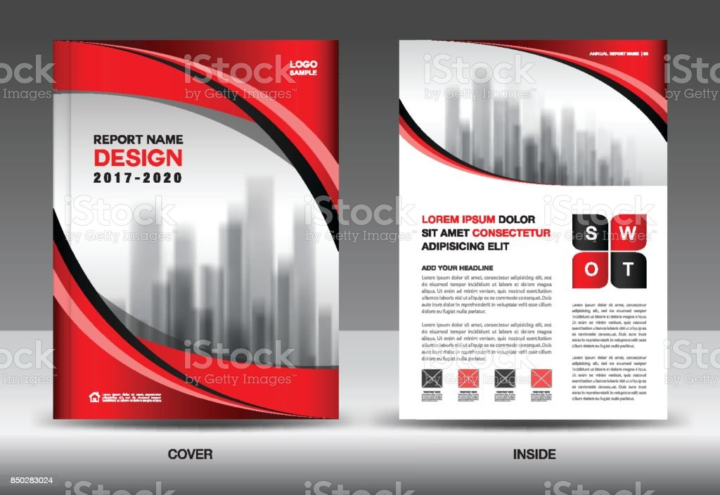 Annual Report Cover Business Brochure Flyer Template Red Cover