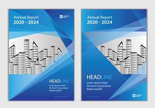 연례 보고서 표지 디자인 템플릿, 브로셔 커버 디자인, 비즈니스 브로셔 전단지 창조적 인 아이디어, 책 표지, 장소 사진 및 회사 로고를 사용할 수 있습니다. 크기 a4.  현대 파란색 추상적 인 배� - 가리기 stock illustrations