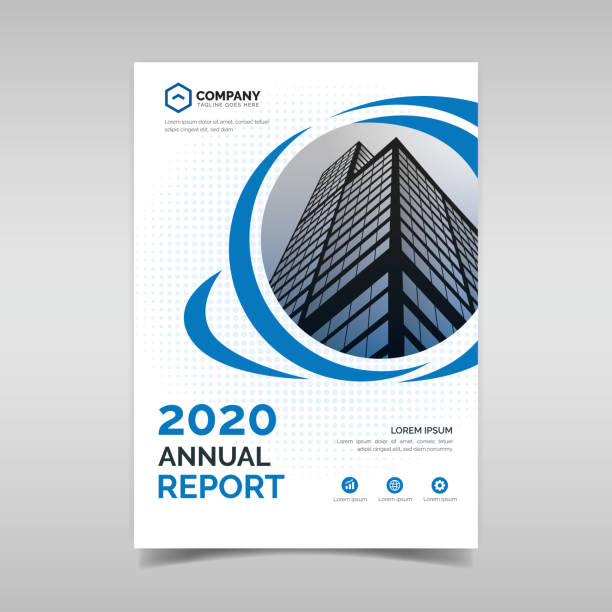 annual report template with blue circles - annual reports templates stock illustrations
