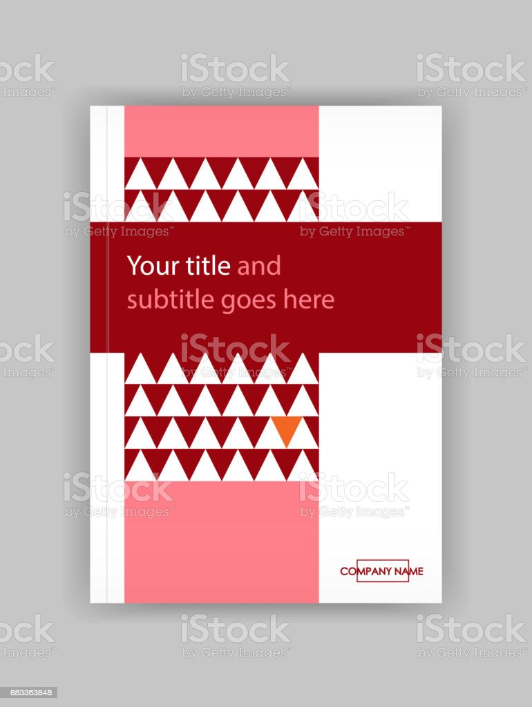 Book Cover Design Craft : Annual report with red geometric figures triangles book