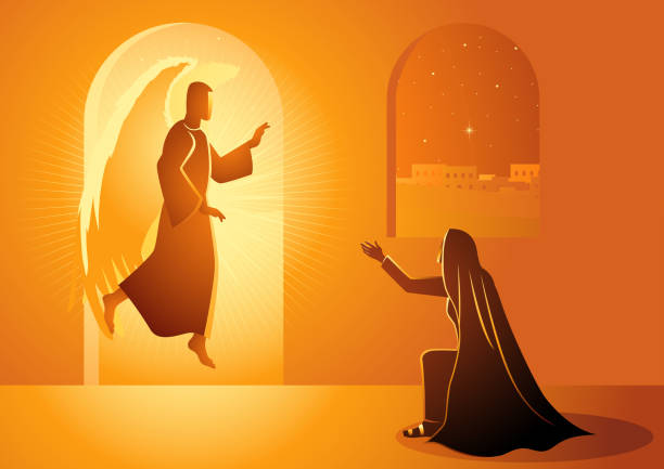 Annunciation to the Blessed Virgin Mary Biblical vector illustration series, Gabriel visits Mary also referred to as the Annunciation to the Blessed Virgin Mary god stock illustrations