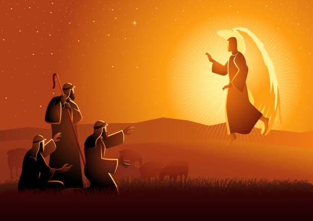 stockillustraties, clipart, cartoons en iconen met aankondiging aan de herders - engel