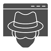 Anonymous browser solid icon. Window with malefactor incognito net surfer. Data security vector design concept, glyph style pictogram on white background, use for web and app. Eps 10