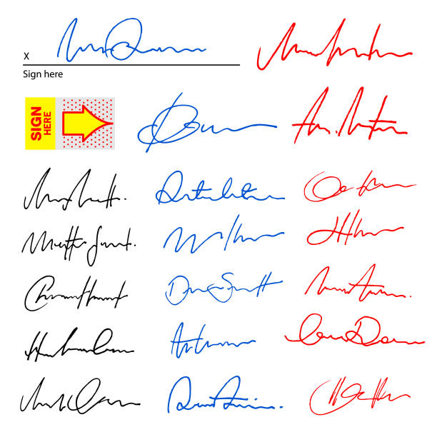 anonyme signaturen - unterschrift stock-grafiken, -clipart, -cartoons und -symbole