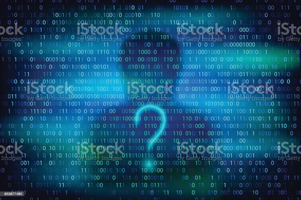 Anonymous silhouette with question symbol on the blue background with binary code texture. vector art illustration