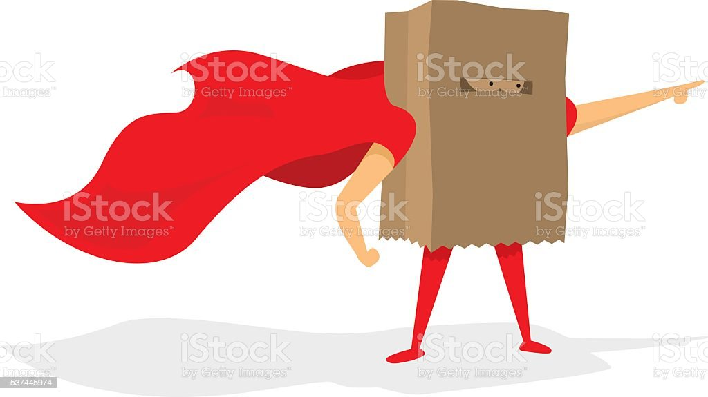Anonymous super hero with paper bag and cape vector art illustration