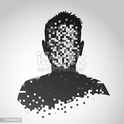 istock Anonymous vector icon. Privacy concept. Human head with pixelated face. Personal data security illustration. 1185656059