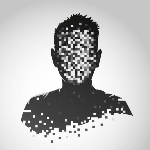 Anonymous vector icon. Privacy concept. Human head with pixelated face. Personal data security illustration. Anonymous vector icon. Privacy concept. Personal data security illustration. Human head with pixelated face. unrecognizable person stock illustrations