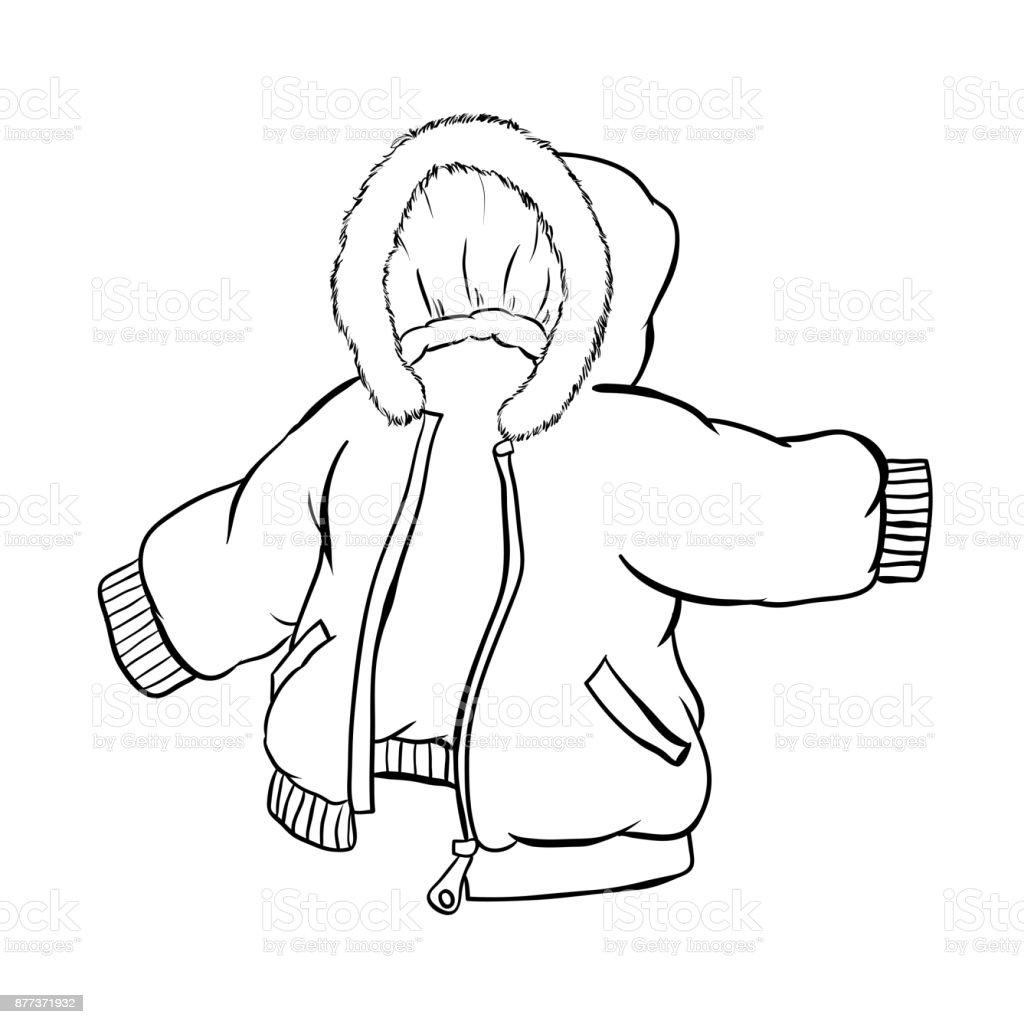 Chaqueta anorak aislado sobre fondo blanco ilustraci n - Dessin de manteau ...