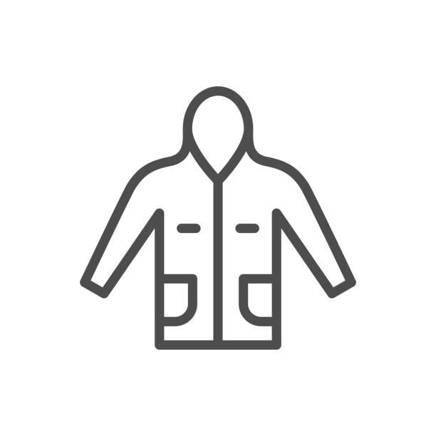 anorak liniensymbol - parkas stock-grafiken, -clipart, -cartoons und -symbole