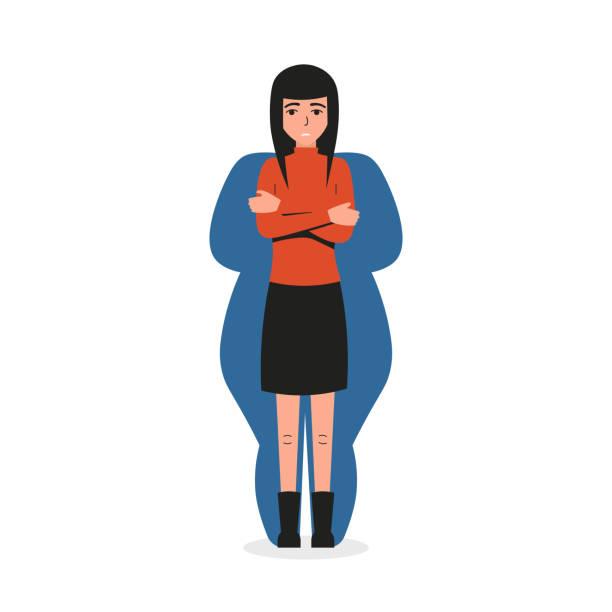 stockillustraties, clipart, cartoons en iconen met anorexia meisje - paranoïde