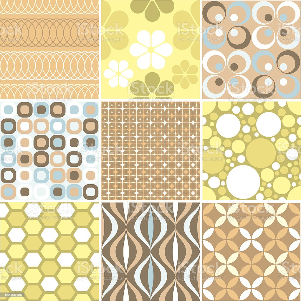 Another set of nine funky retro seamless patterns vector art illustration