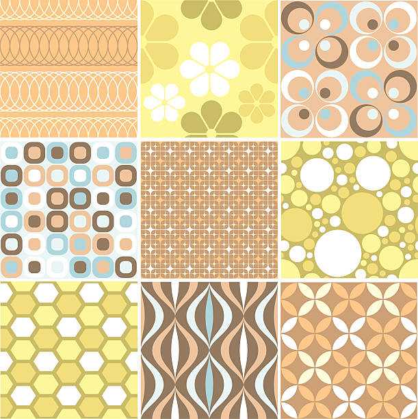Another set of nine funky retro seamless patterns Nine tileable wallpaper patterns. kitsch stock illustrations