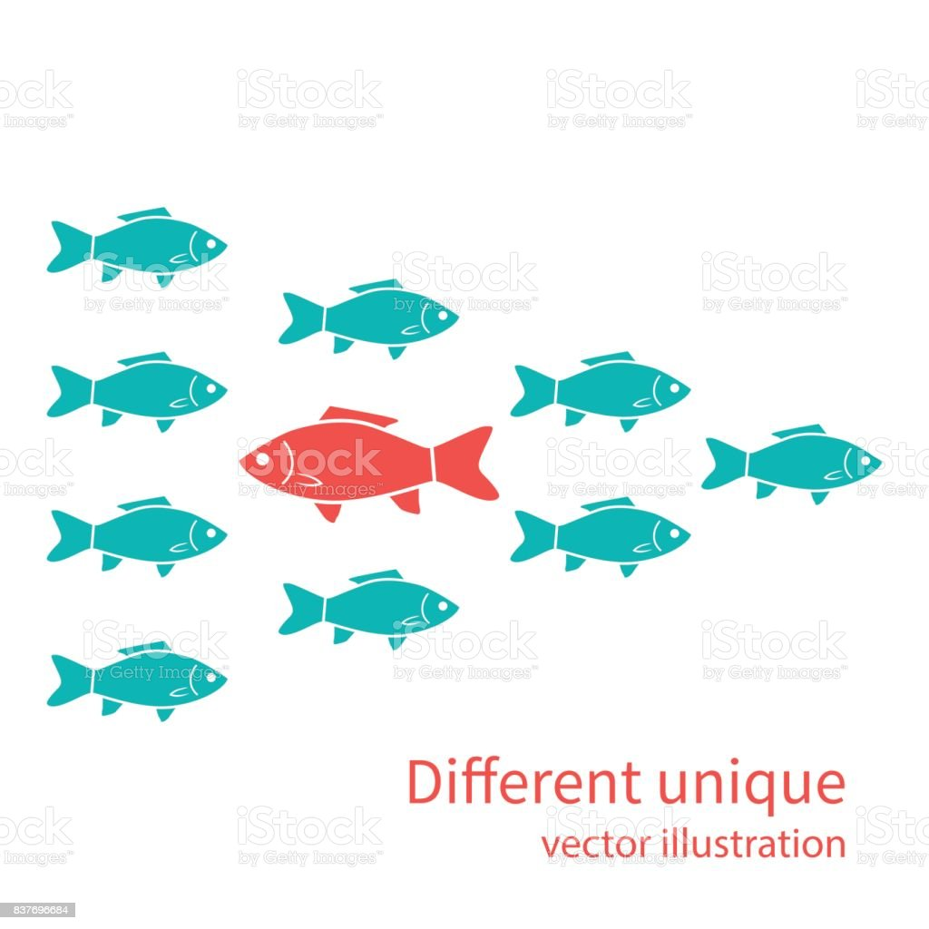 Another unique. Red fish in of white vector art illustration
