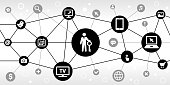 Answer Key Internet Communication Technology Triangular Node Pattern Background. the main icon is in the center of this illustration on a black circle, it is connected to other black circles with technology and modern communication icons on them. The black circles form a triangular node pattern and are connected by thin black lines. the background of the illustration is white. The individual icons include various technology related images such as computers, cell phone, tv set and many more.
