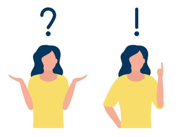 回答問題符號和女人的情緒。問,發人,救命客戶支援。向量插圖 - 困惑 幅插畫檔、美工圖案、卡通及圖標
