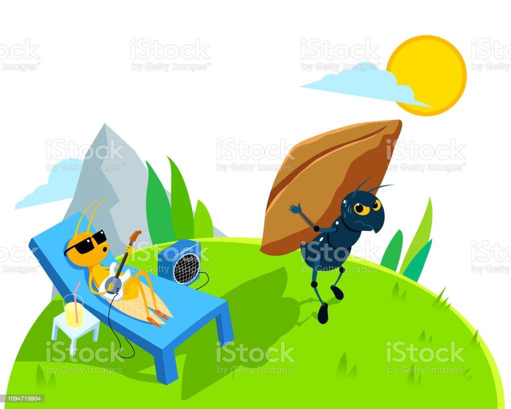 ant and cidada illustration vector art illustration