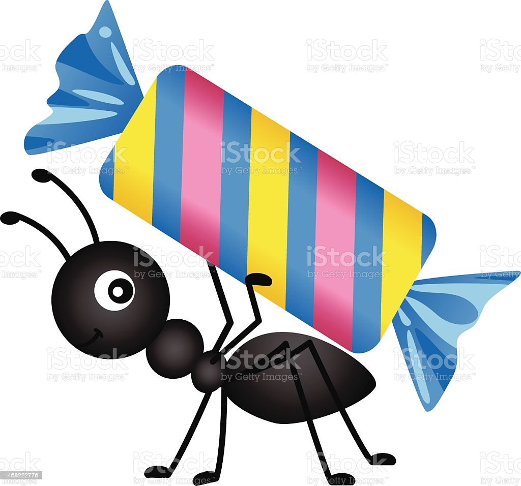 Ant carrying a candy vector art illustration