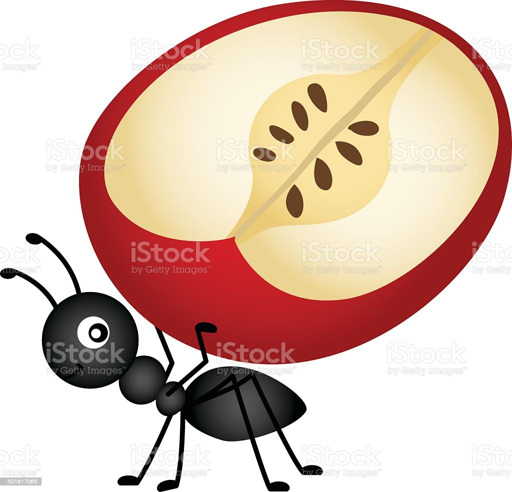 Ant carrying apple slice vector art illustration