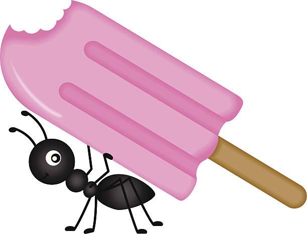 Ant Carrying Ice Cream Stick vector art illustration