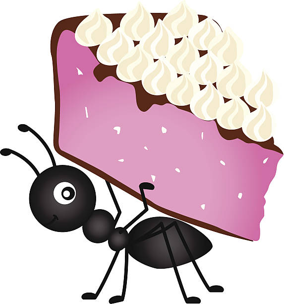 Ant carrying slice cake vector art illustration