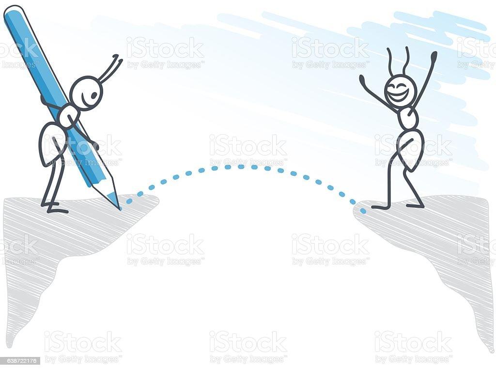 Ant drawing a bridge vector art illustration