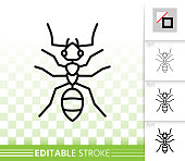 Ant insect simple black thin line vector icon