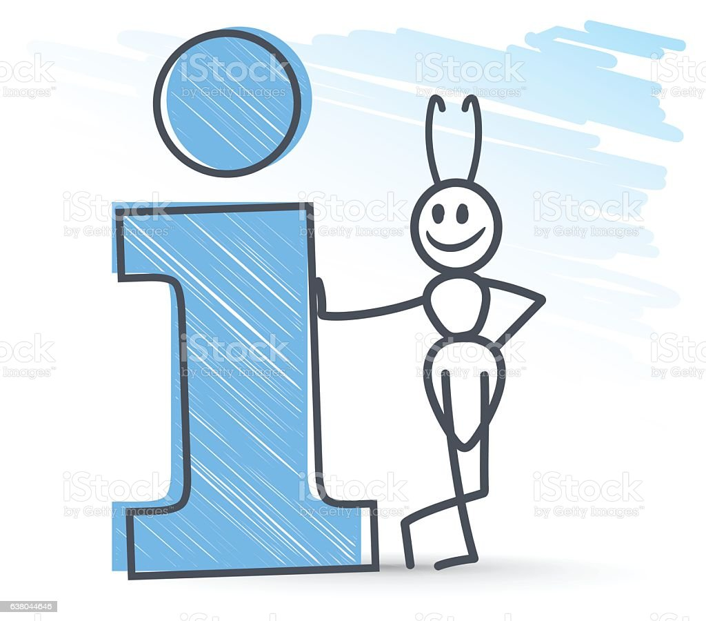 ant next to a information symbol vector art illustration