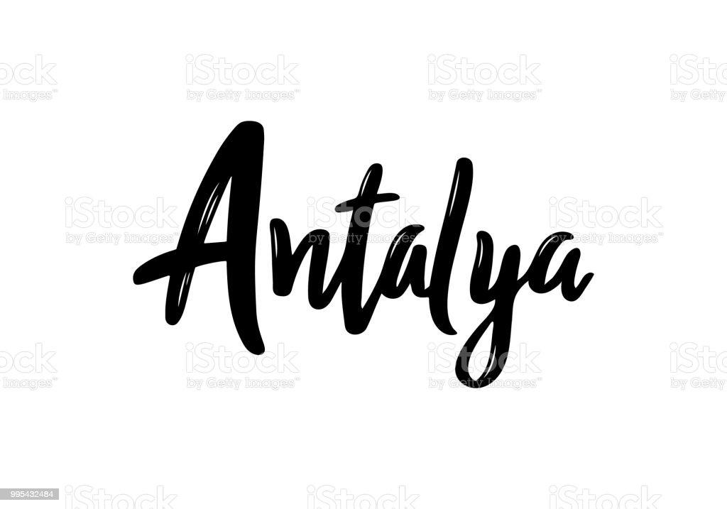 Antalya el yazısı hat şehrin adını. Elle çizilmiş fırça hat. Şehir tasarım yazı. Vektör şablonu. vektör sanat illüstrasyonu